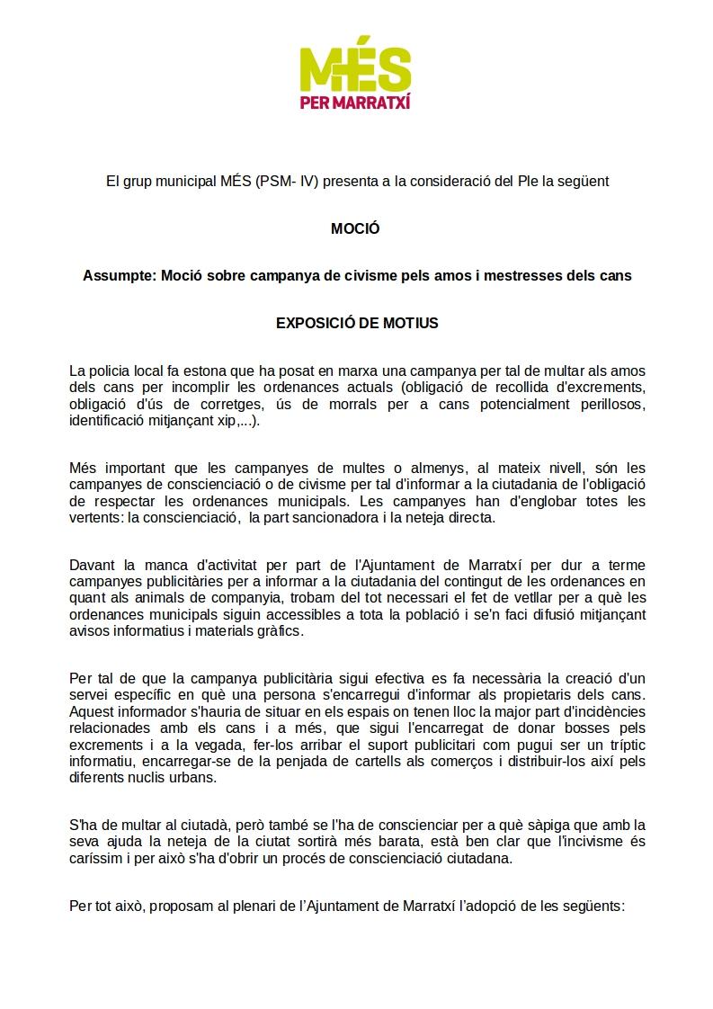 moció sobre campanya de civisme pels amos dels cans1