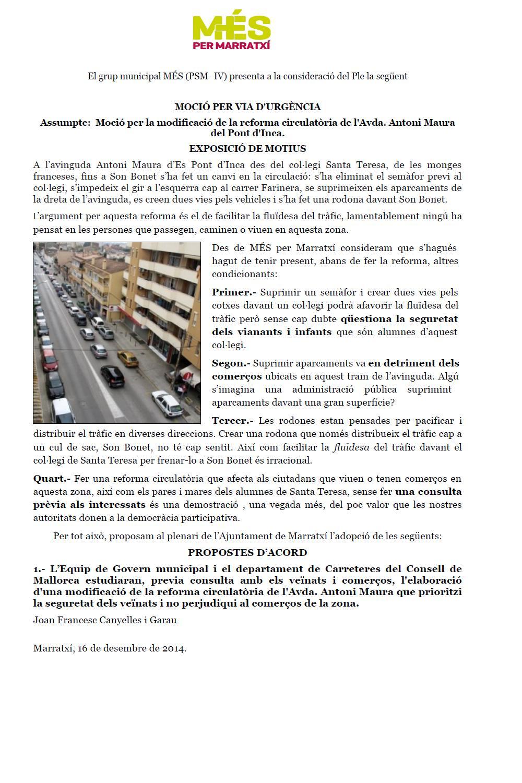 Moció amb imatge reforma circulatòria Pont d'Inca